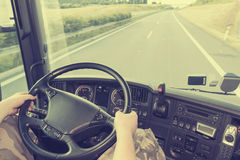 Truck driving instagram effect Stock Images
