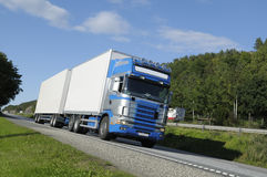 Truck driving on a scenic route Stock Photography
