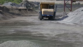 Truck driving through stone quarry. In Russia stock video footage