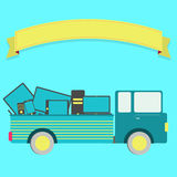 Truck with electronics. Truck carrying electronics (laptop, phone, tablet, pc, television). Blank ribbon for insert text Stock Photos