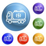 Truck energy icons set vector royalty free illustration