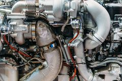 Truck Engine Motor Components In Car Service. Inspection royalty free stock photo