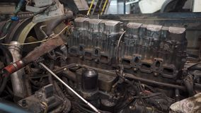 Truck engine panorama. Panorama of the truck engine in the service station stock video