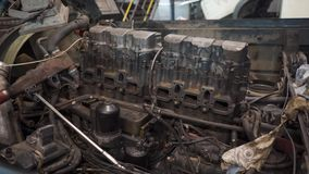 Truck engine panorama. Panorama of the truck engine in the service station stock video footage