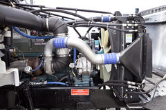 Truck engine. Side view picture of a new diesel truck engine Royalty Free Stock Photo