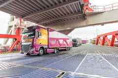 Truck entering inside the embarkment ferryboat bridge Royalty Free Stock Photo