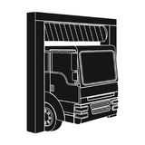 Truck entrance to the station single icon in black style for design.Car maintenance station vector symbol stock. Illustration Royalty Free Stock Images