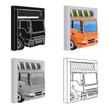 Truck entrance to the station single icon in cartoon,outline,black style for design.Car maintenance station vector Stock Image