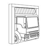 Truck entrance to the station single icon in outline style for design.Car maintenance station vector symbol stock Stock Photo