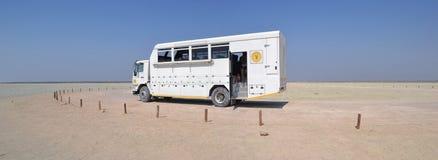 Truck in Etosha National Park. Etosha National Park is a national park in northwestern Namibia Royalty Free Stock Photography