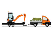 Truck and excavator Royalty Free Stock Photography