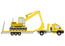 Truck with excavator Royalty Free Stock Image