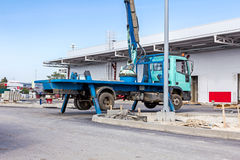 Truck with extended side outrigger stabilizer give support to mo Royalty Free Stock Photo