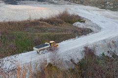 Truck in Faxe Limestone quarry stock image