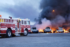 Truck Fire 3. Firemen fight a fire that has involved industrial trucks stock photos