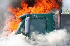Truck on fire Royalty Free Stock Image