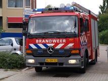 Truck of the fire fighters brigade in Nieuwerkerk aan den IJssel the Netherlands as extinguishing vehicle`. Truck of the fire fighters brigade in Nieuwerkerk stock photography