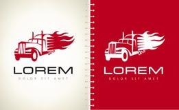 Truck in fire logo vector. Logo design vector illustration Stock Image