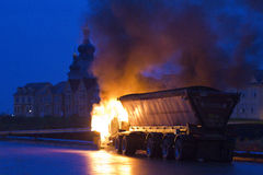 Truck on fire, Markham ON, Cathedraltown Royalty Free Stock Photos
