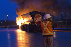 Truck on fire, Markham ON, Cathedraltown. Truck on fire near cathedraltown (in the background), markham, ontario, I believe it was on vine cliff blvd.  Truck was Stock Photography
