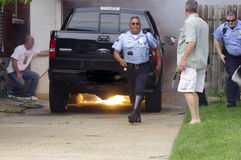 Truck Fire. Out of control backyard fire consumes truck Royalty Free Stock Images