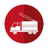 Truck fire rescue urgency attention red circle. Vector illustration eps 10 Stock Images