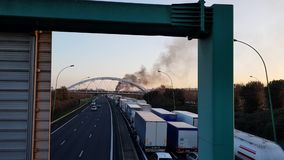 Truck. Fire on the road. Traffic jam on the highway because of an accident and a fire. Toulouse. France stock footage