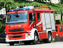 truck firemen during a fire extinguishing Stock Images