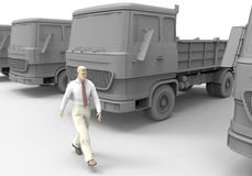 Truck fleet idle. 3D render illustration of an idle truck fleet with a person walking in front of them Royalty Free Stock Photos