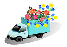 Truck with flowers Royalty Free Stock Photography