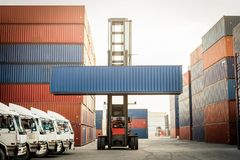 Truck and forklift with container box for logistic Stock Photography
