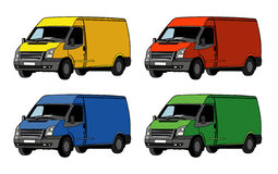 Truck in four colors Royalty Free Stock Photos