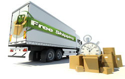 Truck, free shipping urgent service Stock Photos