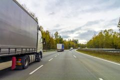 Truck on freeway road, cargo transportation concept Stock Photo