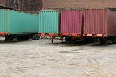 Truck freight trailers parked at commercial depot Royalty Free Stock Photo