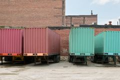 Truck freight transport trailers parked at depot Royalty Free Stock Photo
