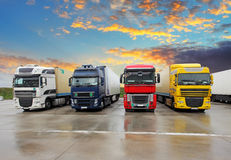 Truck - Freight transportation. At sunset royalty free stock photo
