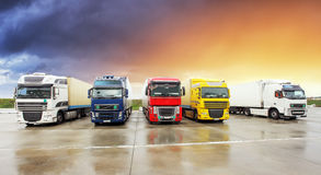 Truck, Freight transportation. At sunset Royalty Free Stock Images