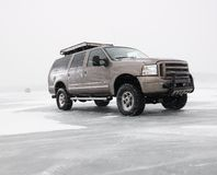 Truck on frozen lake. Royalty Free Stock Photo
