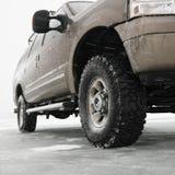 Truck on frozen lake. Royalty Free Stock Image