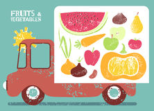 Truck with fruit and vegetables on board. Vector illustration. Royalty Free Stock Photos