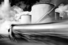 Truck with fuel tank. Speeding Truck With Fuel Tank black and white illustration Stock Photography