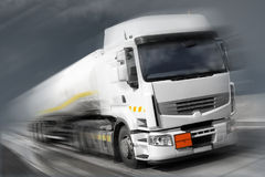 Truck with fuel tank in motion. Low saturation with blurred background Stock Photography