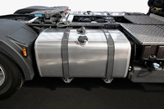Truck Fuel Tank. Stainless Steel Fuel Tank at Big Truck Stock Image