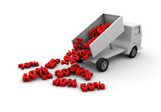 Truck full of discounts. A truck unload a lot of discounts royalty free illustration