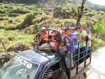 Truck full of people on a dirt mountain road near Lanquin, Guate Stock Photography