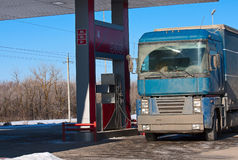 Truck at  gas station Stock Photos