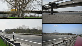 Truck on german autobahn/ highway driving away. Combined of 4 clips stock footage