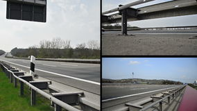 Truck on german autobahn/ highway driving away. Combined of three clips stock footage