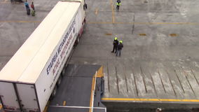 Truck getting on ferryboat stock footage